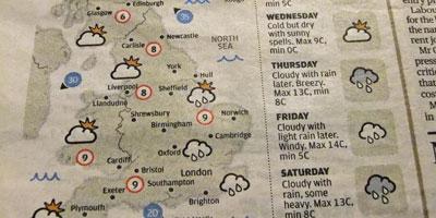 英国のお天気地図