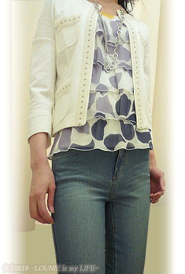 LOUNIE(ルーニィ)通販:LOUNIE(ルーニィ)2010春&夏物★3色パネルプリントタンク×Oggi掲載のノーカラージャケット!×進化したデニンス