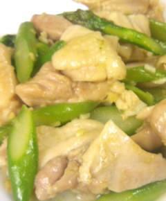 鶏肉とアスパラの中華風塩炒め10
