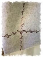 斜め掛けバッグ シンプル 茶系 刺繍