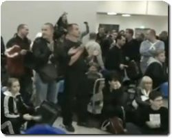Outraged passengers bang anger drum in Moscows airport