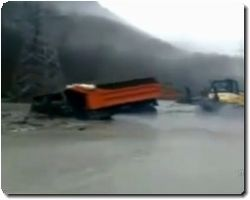 Truck driver almost drowns