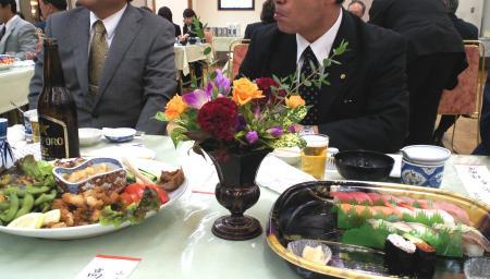 水明館で祝賀会(25.9.29)