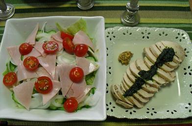 鳥肉とサラダ