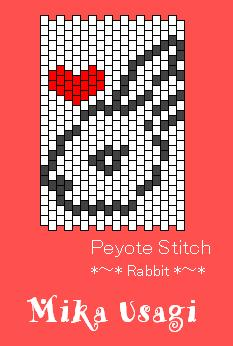 peyote stitch rabbit_heart