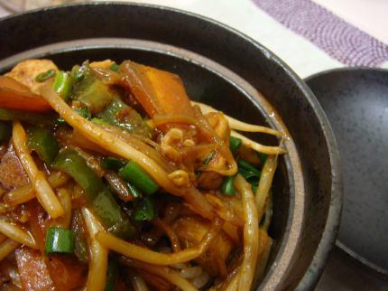 野菜炒め丼