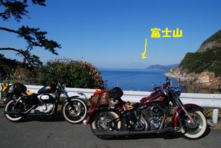 富士山とバイク
