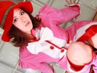 【無修正】ピンクのコスプレのあまいももかちゃん3P中出し!