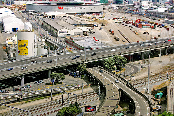Wellingtons faultline runs close to the Ferry terminal, Aotea Quay and the Motorway.
