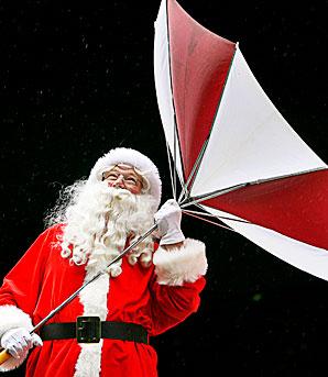 Santa in the rain