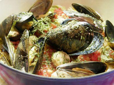野菜と魚介の蒸し煮