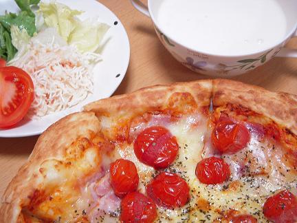 バジルたっぷりのピザ