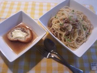 ツナマヨパスタ&オニオングラタンスープ