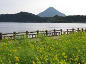 開聞岳と池田湖