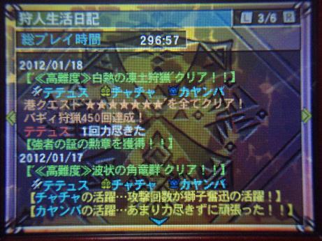 MH3G ギルドカード下画面 狩猟生活296時間57分 01.18