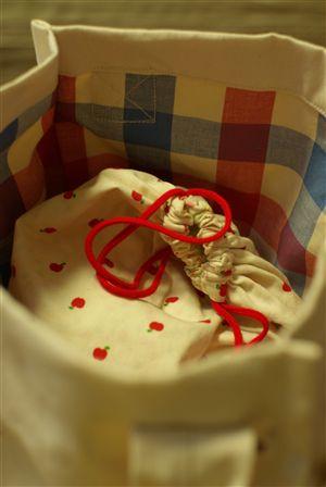 帆布×トリコロールのバッグ