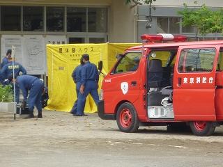 震災救護所訓練けむり