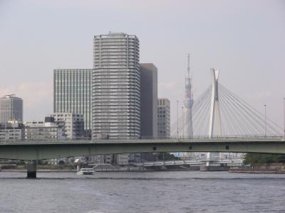 観光船から見た隅田川と東京スカイツリー