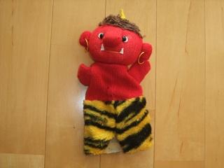 手袋人形の赤鬼