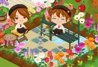 花咲く庭でおしゃべり