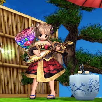 松の木、琵琶