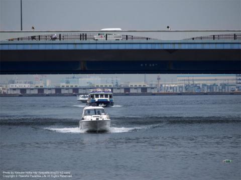 よこはまコスモワールドのキッズカーニバルゾーンから見た海と船