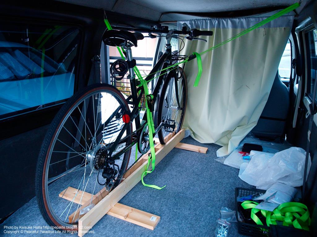 自転車の 自転車 車載 スタンド 自作 : に自転車を車載する装置を自作 ...