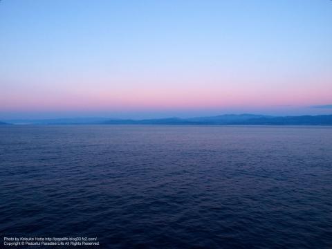早朝のさんふらわあさっぽろの景色