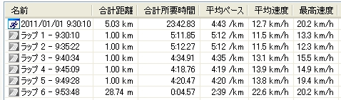 2011元旦マラソン記録