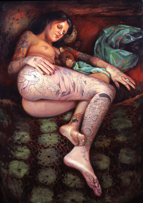 油絵で描かれたTattoo Girl - Shawn Barber