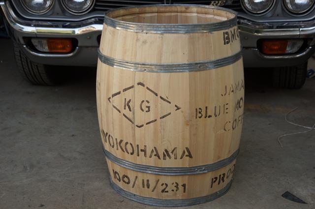 ロータリーベースにやってきた樽 ジャマイカからブルーマウンテンのコーヒー豆を入れて横浜やってきた樽