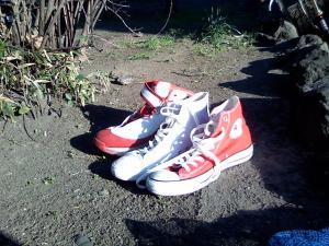 靴、コンバースとナイキと無印良品