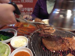 切られる肉