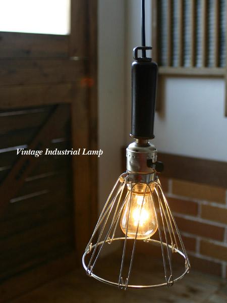 ヴィンテージ工業系ウッドハンドルライト/木製照明