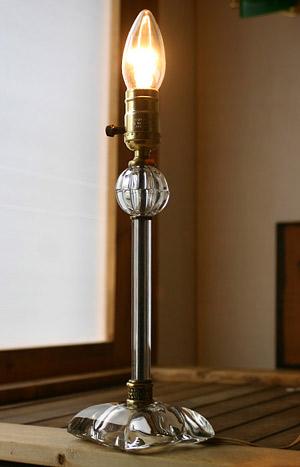 アメリカンヴィンテージ クリアガラス製デスクランプ/アンティーク照明