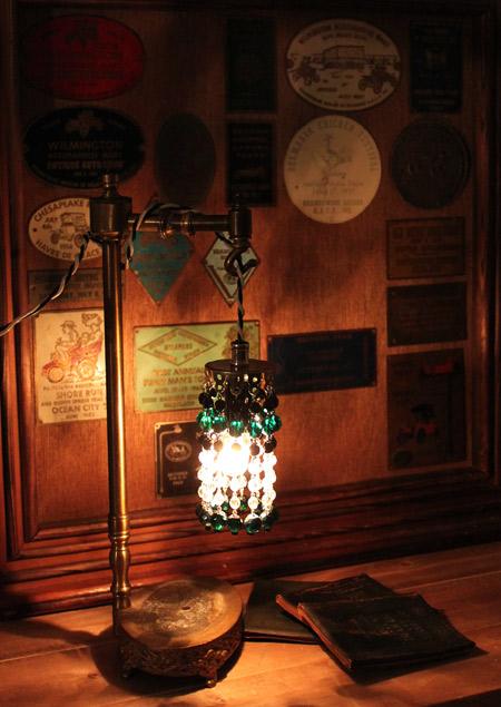 ヴィンテージミニシャンデリア/アンティークガラスビーズランプ