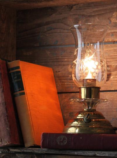 ヴィンテージ真鍮製ガラスシェード卓上ランプ