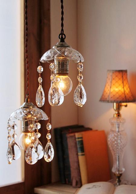 ガラスシェードミニシャンデリアプリズムランプA/アメリカアンティーク照明