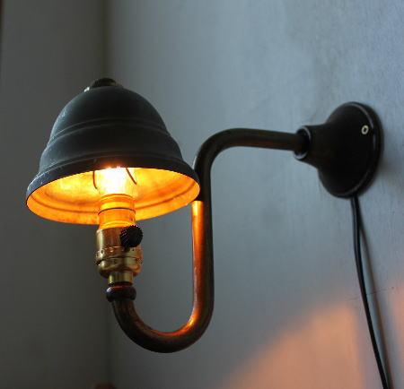 ヴィンテージ シェード付 真鍮製ウォールランプ LEVITONミニソケット/アンティーク壁掛照明ライト 2011/01/16