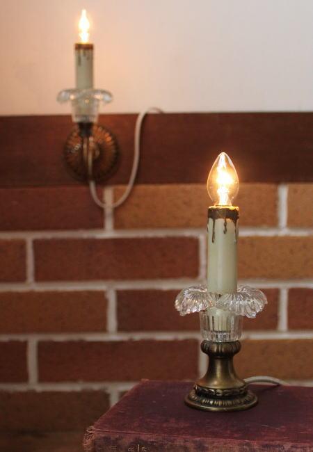 ヴィンテージガラス花形ミニキャンドルテーブルランプ/アンティークライト照明 2011/01/16