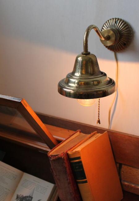 ヴィンテージ真鍮シェード付ウォールランプ/アンティーク工業系壁掛ライト 2011/02/16