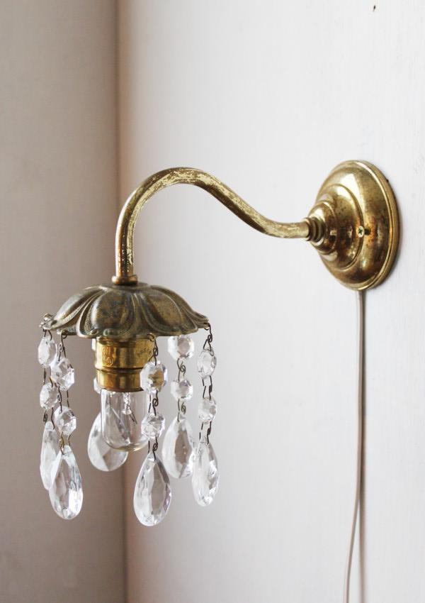 花模様真鍮フレームプリズム付1灯ウォールランプ/アメリカアンティーク 照明