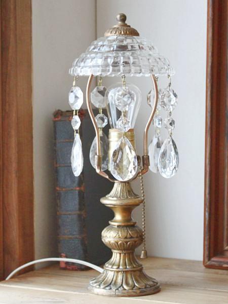 ガラスシェードプリズム付テーブルランプ/アンティーク照明真鍮