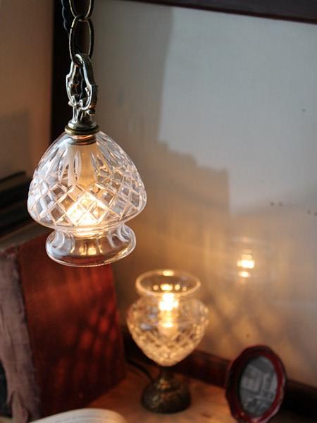 ガラスシェードカップペンダントライト/アンティーク吊下ランプ