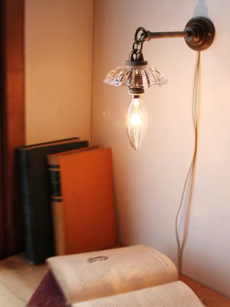 古いミニガラスシェード壁掛ランプ/アンティークウォールライト
