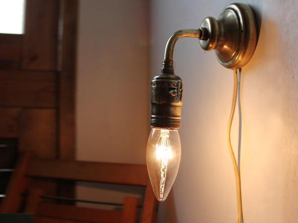 鍵LEVITONソケット真鍮ウォールランプ/アンティーク壁掛ライト