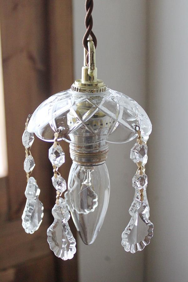 ガラス製フレンチプリズムミニシャンデリアランプ/アンティーク