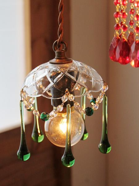 ガラスシェードミニシャンデリアプリズムランプ緑/アンティーク