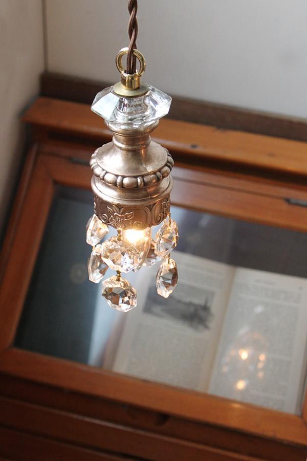 ガラスプリズム筒型シャンデリアランプ/アンティークシェード