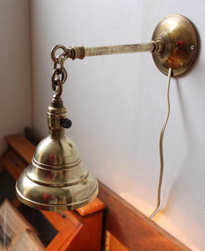LEVITONミニソケット真鍮シェード壁掛ランプ/アンティークライト
